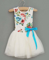 TuTu Summer Pleated Girls Cute Lace Dresses Fashion Bowknot Princess Dress Jumper Skirt Child Clothes Toddler Flower Dresses Baby Summer Dress Children Clothing