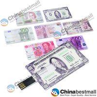 Wholesale 32GB GB GB GB GB Card Shaped Paper Money Patterned USB Flash Drive memory usb disk U disk