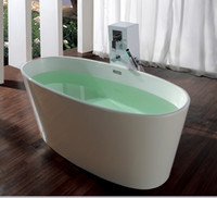 corian solid surface - 1580x700x660mm Ocean Shipping Solid Surface Stone Bathtub With Drainer Overflow Freestanding Oval Corian Soaking Tub CUPC Approval