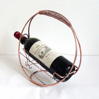 Wholesale Romantic Round Wine Holders For Home Decoration Metal Wire Wine Holder Wine Barrels Iron Shelf Brackets