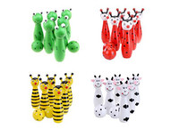 Wholesale Cute Wooden Animal Style Bowling Toy Design Bowling Game Baby sports Toys happy ne