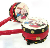 Wholesale Rattle Drums Newborn Kids Gift Leather Drum Chinese Traditional Educational Toy