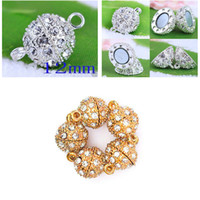 Wholesale 12mm Round Magnetic Crystal Open Ball Clasp Gold amp Silver DIY Rhinestone Connectors Clasps