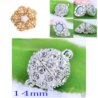 14mm ball connectors - 14mm Round Magnetic Crystal Open Ball Clasp Gold amp Silver DIY Rhinestone Connectors Clasps