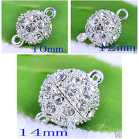 Wholesale Round Magnetic Crystal Open Ball Clasp Silver DIY Rhinestone Connectors Clasps mm