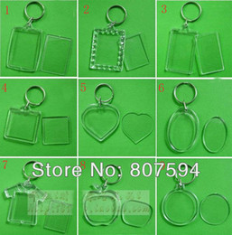 Wholesale 100pcs Blank Acrylic Keychains Insert Photo plastic Keyrings Square Key Rectangle Heart Circular Transparent Key Chain