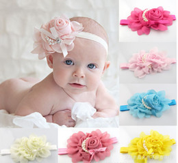Wholesale New Baby Rose Flowers Headbands Girl Chiffon Flower Headwear Headbands Kids Pearl Bow Hair decoration Headbands Children s Hair Accessories