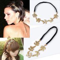 Wholesale Hot Sale Olive leaf headband head piece chain leaves golden elastic hair band JH01017