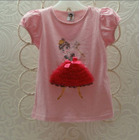 beautiful patchwork - 2013 B2W2 Girl T shirts Dance Girl Lace Top Beautiful Girl Short Sleeve T shirts Children Clothes