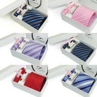 Wholesale ties for Men Polyester Dress Set Woven Ties Set Tie Cufflink Tie clip Hankie Gift Box