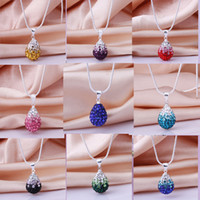 Leather leather pieces - mix pieces women s shining Dazzling AB Crystal Pave Disco drop Lovely necklace Bling Jewelry Rhinestone Chain pandent High grade