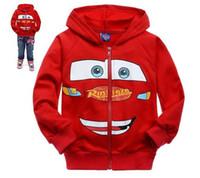 Wholesale 2013 New Children s RED CARS McQueen cotton long sleeve zipper jacket baby sport cartoon coat kid s outwears