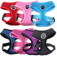 Wholesale MOQ Soft Air Mesh Breathable Adjustable Pet Dog Harness Vest with Paw Label Mixed colors available