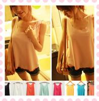 Wholesale Sexy Womens Lady Girls Petal Wave Chiffon Tank Top Shirt Vest Blouse Sleeveless