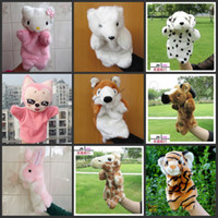 Teddy Bear White Plush hand Plush puppet toy animal combination Large cloth bag tell story dolls doll for children