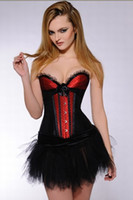 Wholesale In Stock Sexy Burlesques V Neck Corset Dress Basques TUTU Lingerie Costumes Size Small To XL