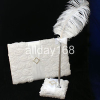 Wholesale Wedding Favors Wedding Party white D rose design Wedding Guest Books amp Pen Sets