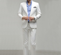 Wholesale new arrive white suit silm Korea button men s suits wedding suits groom tuxedo suit for mens