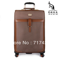 Wholesale Oxford fabric shallow brown trolley luggage travel bag british style box