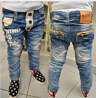 Wholesale Children s jeans boy pocket zipper letters printing water wash pants Baby blue jeans pieces