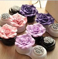 eyeglasses box - Freeshipping flower type contact lens case Color Contact Lenses case Contacts lens cheap discount contact eyes lenses