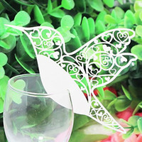 Thank You Cards beautiful place cards - 100pcs Laser cutting Wedding Party decoration beautiful Birds white wine glass place cards BKXN010