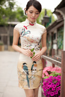 Wholesale Vintage Elegant Silk Slim Cheongsam Magpie Printed High Collar Chinese Mini Dress Short Sleeve