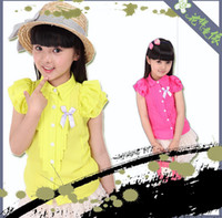 Girl 6-10 Year Summer Summer girls sets Korean candy color Short sleeve chiffon shirts + Net yarn waist skirt children suit kids outfits 3colour 5size 5sets lot