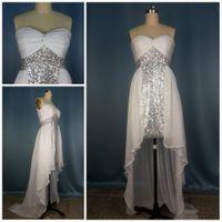 Wholesale Gorgeous Sweetheart hi lo chiffon fabric Sequin Sash Short front long back white evening dresses prom gowns shiny graduation dress