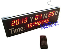 Wholesale 1 inch seven segment red color year month date and time LED calendar clock HIT14 R
