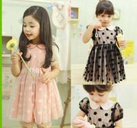short sleeve dress - 2014 Girls Pearl Collar Dress Children Clothing Fashion Polka Dot Princess Dress Short Sleeve Dresses Kids Summer Dress Child Lace Dresses
