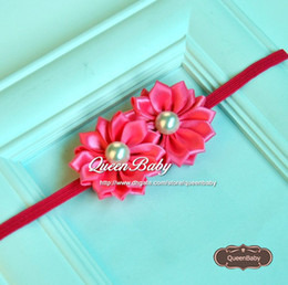 Double Satin Ribbon Flower Headband Matching Sparking Pearl Layered Flower Newborn Photography Props 40PCS lot QueenBaby