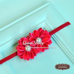 Double Satin Ribbon Flower Headband Matching Layered Pearl Flower Nylon Thin Headbands Newborn 240PCS lot QueenBaby