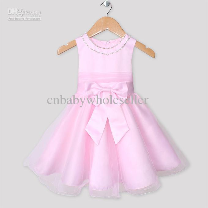 Hot Sale Baby Girl Princess Dresses Kids Pink Dress Formal Party ...