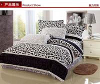 Wholesale King size Leopard printed Bedding Duvet Doona cover set Thicken Sueded Cotton Reactive Dyeing fabric Bed in a bag