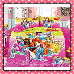 Wholesale Winx club Cartoon Cotton children Bedding Set Kid Bedding