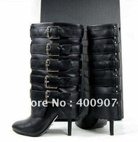 Wholesale New Designer Stiletto High Heel Women Boots with Belt Buckle Suede or Sheepskin Leather is OK