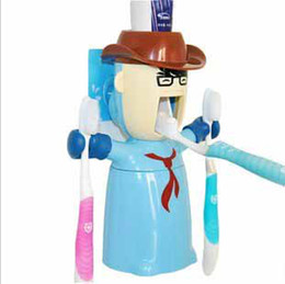 Wholesale Cartoon Automatic In Toothpaste Dispenser lovers Couples toothbrush Holder Wash Set t5176