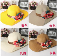 Wholesale 2013 new three dimensional womon flowers flanging Eaves shade Beach along HOT lady lovey straw hat color