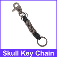 Wholesale Leather Links Skull Head Decorated Key Chain Black