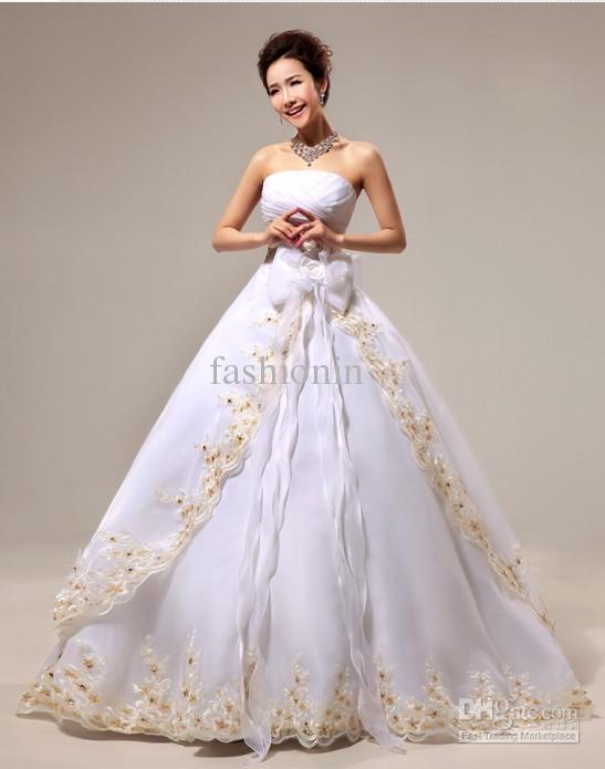 New arrival korean wedding dress zipper sweet floor skinny for White and champagne wedding dress
