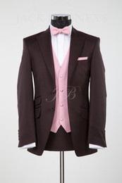 Wholesale Custom Made Brown Ticket Pocket Groom Tuxedos Best Man Peak Lapel Groomsmen Men Wedding Suits Bridegroom Jacket Pants Tie Vest H696