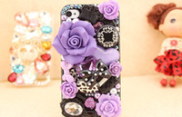 Wholesale Fashion Crystal Cell Phone Case flower bow pearl mobile phone spare parts Silcon Phone cases for i phone s