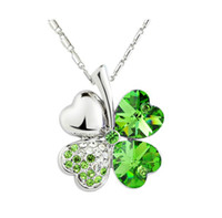 Pendant Necklaces clover necklace - Silver Tone Chain Crystal Heart Rhinestone Petal Flower Necklace Fashion Clover Necklace woman good quality Colors Option