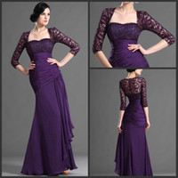 Strapless Reference Images Chiffon New arrival strapless graceful mother of the bride dresses with jacket ruffle chiffon purple evening dresses for women in formal occasion