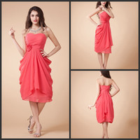 Promotion Free shipping strapless short bridesmaid dresses c...