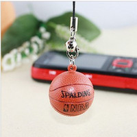 Wholesale Artificial ball cell phone accessories spalding basketball mobile phone chain belt bell
