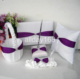 Wholesale PURPLE bow rhinestone Guestbook Pen Set Ring Pillow Flower Basket Garter for Wedding Favors