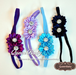 17COLOR Double Satin Ribbon Flower Headband with Sparking Rhinestone Baby Headbands Newborn Photography Props 120pcs lot QueenBaby