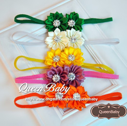 Trail Order 17Colors Double Satin Ribbon Flower Headband with Sparking Rhinestone Elastic Baby Headbands 20pcs lot QueenBaby